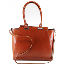 Kožená luxusní mahagonově hnědá menší kabelka do ruky Miracle