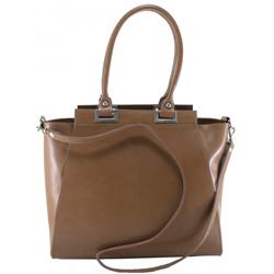 Kožená luxusní taupe hnědá menší kabelka do ruky Miracle