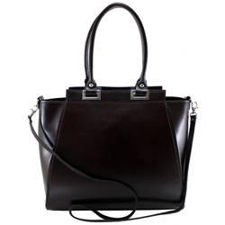 Kožená luxusní tmavě hnědá menší kabelka do ruky Miracle