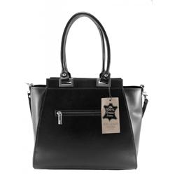 Kožená luxusní černá menší kabelka do ruky Miracle