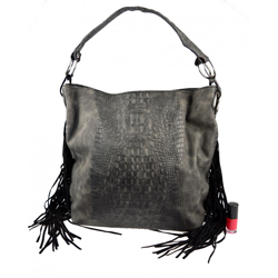 Černá kabelka s krokodýlím vzorem a třásněmi Kallena