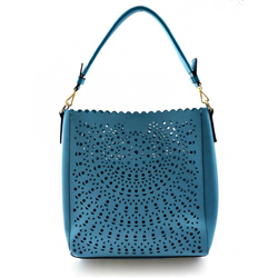 Bledě modrá menší perforovaná kabelka 2v1 Ina