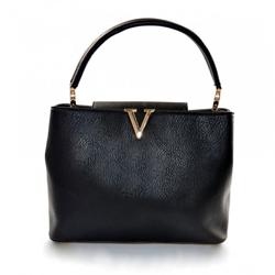 Menší sytě černá kabelka do ruky Tini