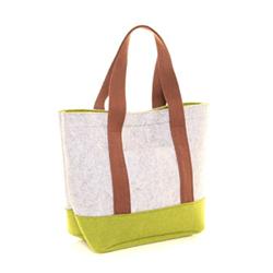 Šedo zelená filcová shopper taška Amelia