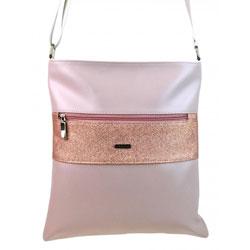 Růžovo bílá crossbody kabelka s brokátovým páskem Humnien