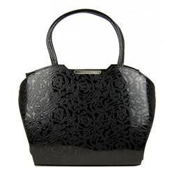 Černá lakovaná kabelka s potiskem růží Garance