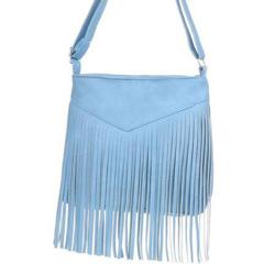 Modrá dámská kabelka s třásněmi Amelia