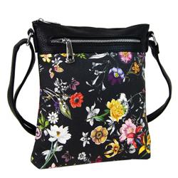 Černá květinová malá dámská crossbody kabelka Libien