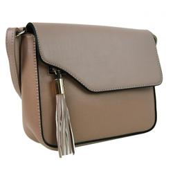 Přírodní hnědá crossbody kabelka s ozdobou Aleniel