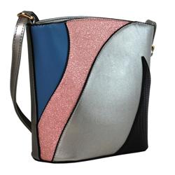 Stříbrná dámská barevná menší crossbody kabelka Sansei