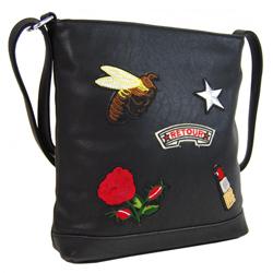 Černá dámská crossbody dámská kabelka s výšivkami Allie