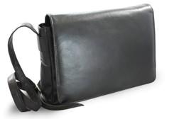 Černá kožená klopnová kabelka Londen