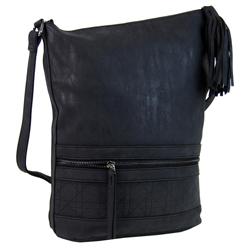 Černá asymetrická broušená crossbody kabelka Magniel