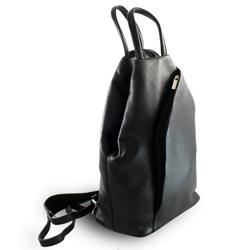 Černý kožený batoh a kabelka Hazelien