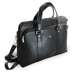 Černá kožená business taška na notebook Catalina
