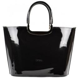 Černá luxusní lakovaná kabelka Greta