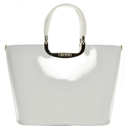 Bílá elegantní lakovaná kabelka Samuela