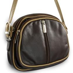 Hnědo béžová kožená trojzipová kabelka Iris 2c29adb5945