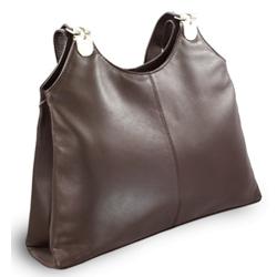 Tmavě hnědá kožená zipová kabelka Michelle