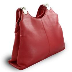 Červená kožená zipová kabelka Destiny