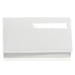 Bílá luxusní lakovaná dámská listová kabelka Leina