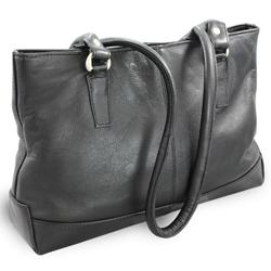 Černá kožená zipová kabelka Arya