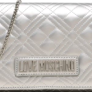 Love Moschino Taška přes rameno 'ORO' stříbrná